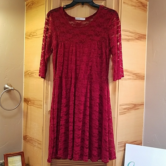 2ca1eab69 Shang Ya Dresses | Red Lined Lace Dress Large Guc | Poshmark